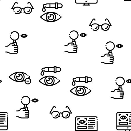 Optometry Medical Aid Seamless Pattern Vector Thin Line. Illustrations