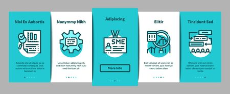 Sme Business Company Onboarding Mobile App Page Screen Vector. Sme Small And Medium Enterprise, Communication And Education, Badge And Case Concept Linear Pictograms. Color Contour Illustrations