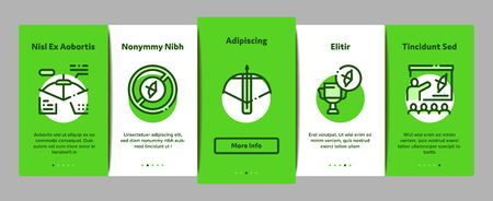 Archery Activity Sport Onboarding Mobile App Page Screen Vector. Archery Target And Equipment, Crossbow And Bow, Arrow And Archer, Championship Cup Linear Pictograms. Color Contour Illustrations