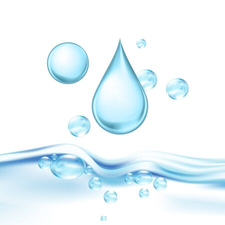 Falling Mineral Water Drop And Air Bubbles Vector. Drinking Crystal Clear Water For Quenching Thirst, Fresh Aqua Wavy Transparent Purity Nature Liquid. Concept Template Realistic 3d Illustration