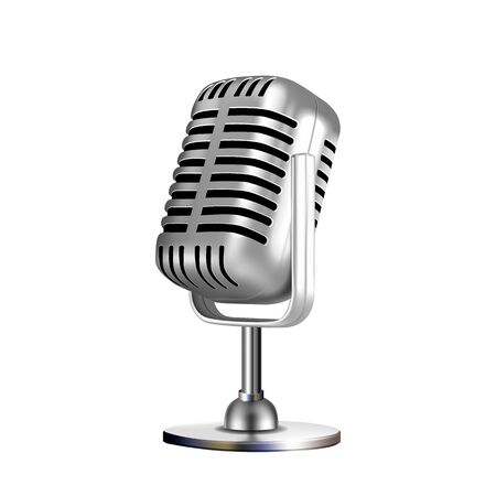 Microphone Retro Vocal Radio Equipment Vector. Audio Microphone For Online Anchorperson Studio Or Karaoke Bar Device. Chrome Silver Color Concept Template Realistic 3d Illustration
