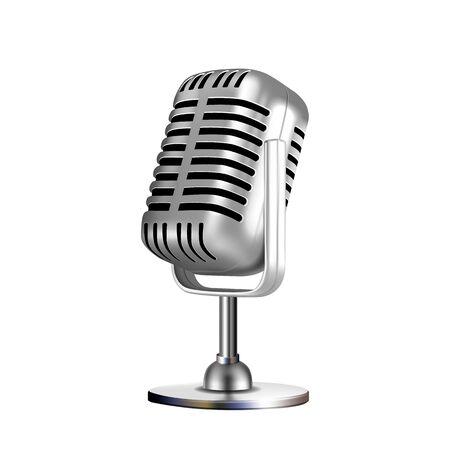 Mikrofon Retro Vocal Radio Equipment Vector. Audiomikrofon für Online-Anchorperson-Studio oder Karaoke-Bar-Gerät. Chrom Silber Farbkonzept Vorlage Realistische 3D-Darstellung