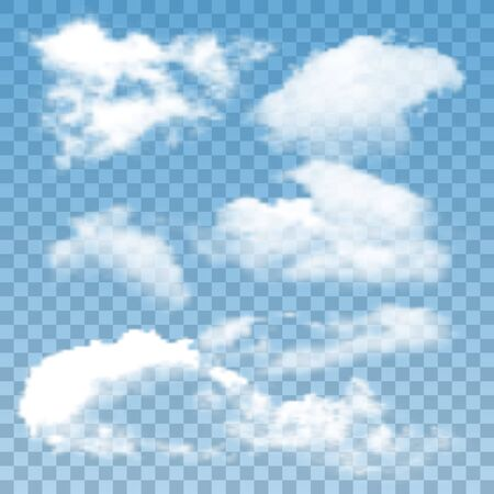 Fluffy Clouds Atmosphere Collection Set Vector. Different Air Clouds Natural Ornament. Good Cloudy Day Weather And Environment. Atmospheric Cumulus And Cirrus Concept Layout 3d Illustrations Ilustração