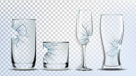Broken And Damaged Glasses Collection Set Vector. Crashed Wine And Beer, Champagne, Whiskey And Juice Glasses. Transparency Drink Glassware Concept Template Realistic 3d Illustrations