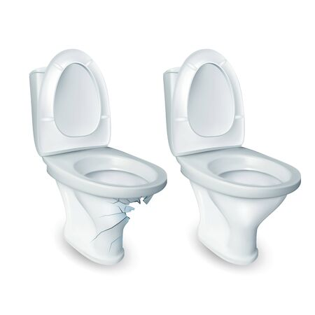 Toilet And Damaged Restroom Ceramic Bowl Vector. Household Toilet Lavatory Opened Raised Plastic Seat And Broken With Hole. Sanitary Bathroom Cabinet Equipment Realistic 3d Illustration