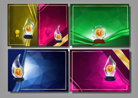 Glass Award Collection Diploma Banner Set Vector. Tournament Winner Sport Or Scientific Award With Golden Medal. Creative Certificate Multicolored Template Realistic 3d Illustrations