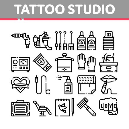 Tattoo Studio Tool Collection Icons Set Vector. Tattoo Studio Machine And Razor Equipment, Chair And Case, Cream And Ink Bottles Concept Linear Pictograms. Monochrome Contour Illustrations