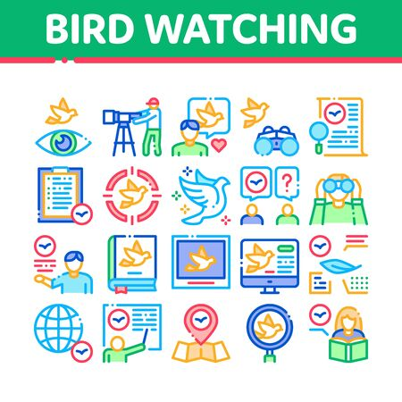 Bird Watching Tourism Collection Icons Set Vector. Bird Watching Photo Camera And Binocular Equipment, Traveler Tourist, Map And Book Concept Linear Pictograms. Color Contour Illustrations