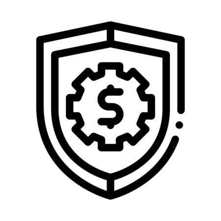 Security Shield Icon Vector. Outline Security Shield Sign. Isolated Contour Symbol Illustration Illustration