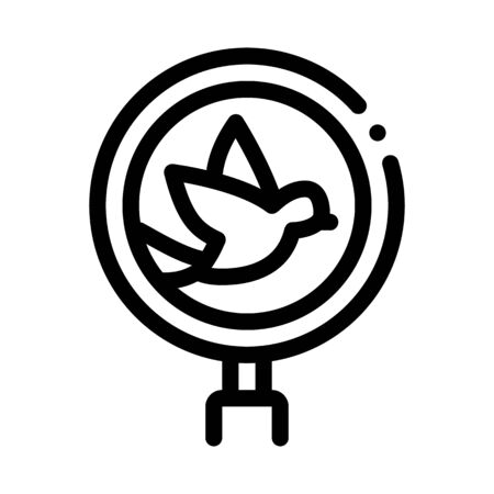 Bird Ornithology Research Icon Thin Line Vector. Flying Bird And Magnifier, Search Loupe Equipment Concept Linear Pictogram. Monochrome Outline Sign Isolated Contour Symbol Illustration
