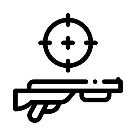 Gun Targeting Icon Vector. Outline Gun Targeting Sign. Isolated Contour Symbol Illustration