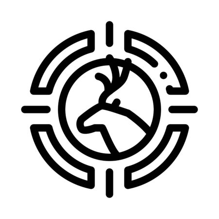 Deer Targeting Icon Vector. Outline Deer Targeting Sign. Isolated Contour Symbol Illustration
