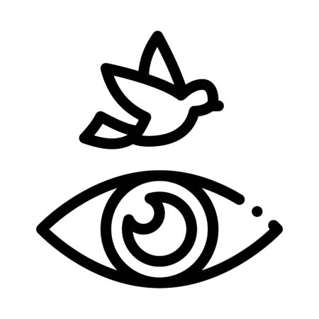 Human Eye Watching Fly Bird Icon Thin Line Vector. See Live Flying Bird, Anatomy Organ For Watch Concept Linear Pictogram. Monochrome Outline Sign Isolated Contour Symbol Illustration