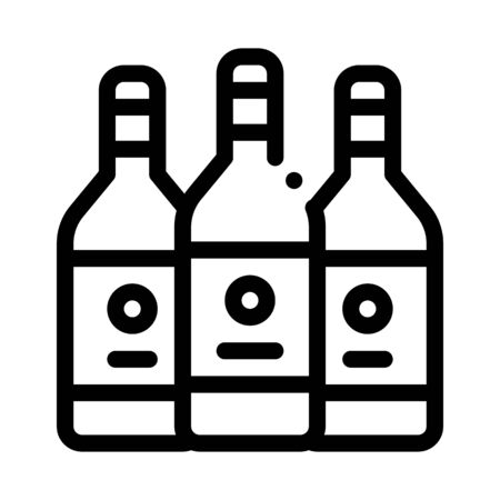 Drink Bottles Icon Vector. Outline Drink Bottles Sign. Isolated Contour Symbol Illustration