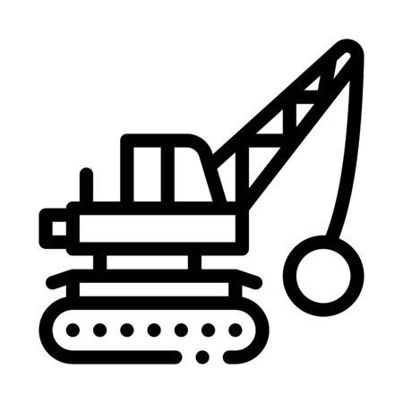 Demolish Machine Icon Vector. Outline Demolish Machine Sign. Isolated Contour Symbol Illustration Vektorgrafik