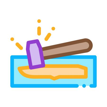Knife Hammer Icon Vector. Outline Knife Hammer Sign. Color Isolated Contour Symbol Illustration Illusztráció