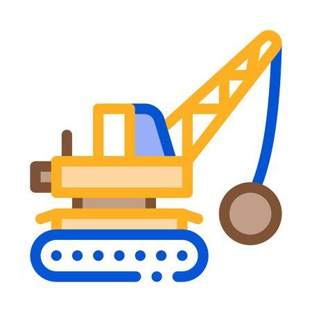 Demolish Machine Icon Vector. Outline Demolish Machine Sign. Color Isolated Contour Symbol Illustration