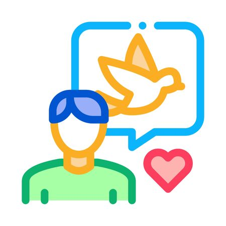 Human Speaking About Bird Icon Thin Line Vector. Ornithologist Talk With Love About Bird, Quote Frame And Heart Concept Linear Pictogram. Color Isolated Contour Symbol Illustration