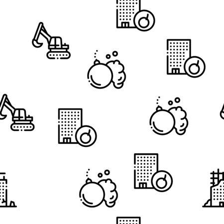 Demolition Building Seamless Pattern Vector Thin Line. Illustrations