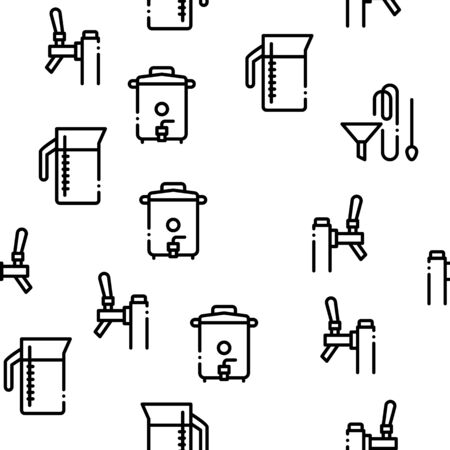 Home Brewing Beer Seamless Pattern Vector Thin Line. Illustrations