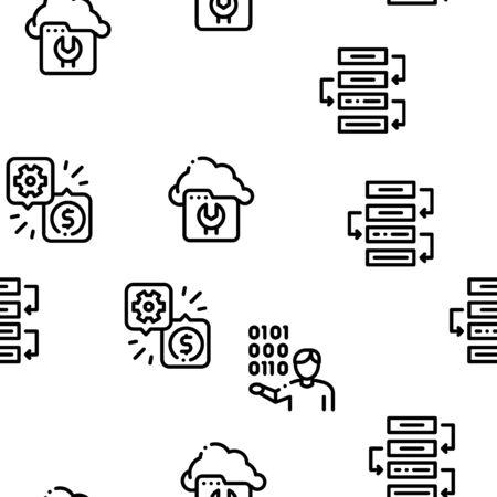 It Manager Developer Seamless Pattern Vector Thin Line. Illustrations Vektoros illusztráció