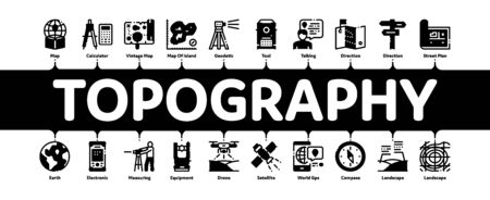 Topography Research Minimal Infographic Web Banner Vector. Topography Equipment And Device, Compass And Calculator, Satellite And Phone, Drone Illustrations
