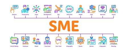 Sme Business Company Minimal Infographic Web Banner Vector. Sme Small And Medium Enterprise, Communication And Education, Badge And Case Illustrations