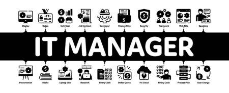 It Manager Developer Minimal Infographic Web Banner Vector. It Manager Badge And Binary Code, Web Site Development And Programming Illustrations Vektoros illusztráció