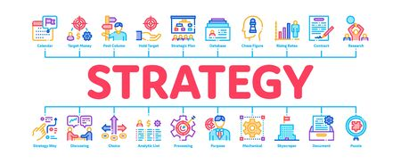 Strategy Manager Job Minimal Infographic Web Banner Vector. Contract Signing And Customer Database, Business Direction Strategy Manager Illustrations Stockfoto - 142034191