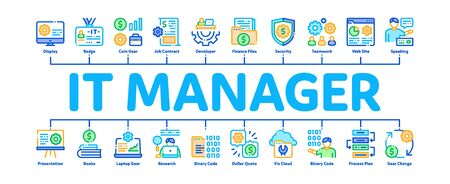 It Manager Developer Minimal Infographic Web Banner Vector. It Manager Badge And Binary Code, Web Site Development And Programming Illustrations