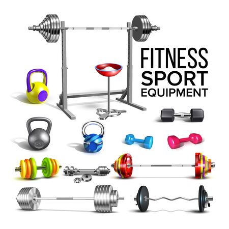 Barbells, Kettlebells And Dumbbells Set Vector. Collection Of Different Barbells Fitness Sport Equipment For Strong Muscles And Slim Figure. Gym Powerlifting Tools Template Realistic 3d Illustrations Illustration
