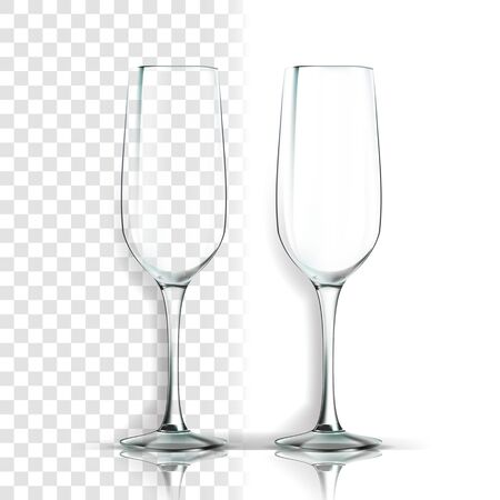 Glass . Classic Goblet. Empty Clear Glass Cup. For Water, Drink, Wine, Alcohol, Juice, Cocktail. Realistic Shining Glassware Transparency Illustration