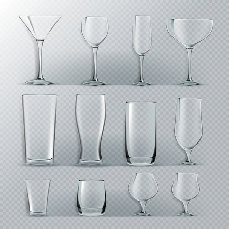 Glass Set . Empty Glasses Goblets For Water, Alcohol, Juice, Cocktail Drink. Realistic Illustration