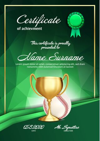 Baseball Certificate Diploma With Golden Cup . Sport Award Template. Achievement Design. Honor Background. A4 Vertical. Illustration