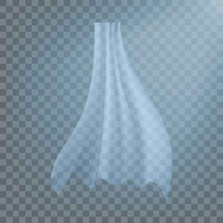 Fluttering White Cloth . Textile Design. Interior Drapery. Blowing Object. Realistic Clear Material Illustration