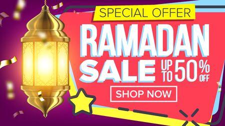Ramadan-Verkaufsbanner. Islamisches Plakat. Arabische Vorlage. Ramazan-Gruß. Illustration