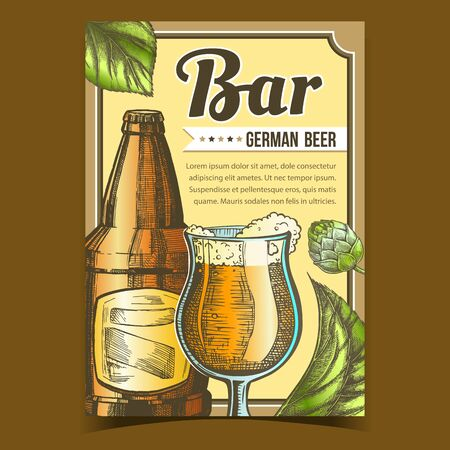 Bar With German Beer Advertising Poster Vector. Glass Cup With Fresh Alcohol Drink Beer, Bottle With Blank Label And Hops Green Leaves On Promotional Banner. Creative Typography Illustration