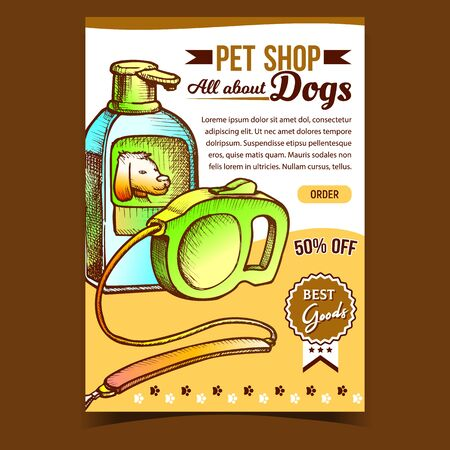 Pet Shop Dogs Accessories Advertise Banner Vector. Leash Cord Equipment For Walking And Shampoo Bottle For Bath Pet Animal. Tool Template Hand Drawn In Vintage Style Color Illustration