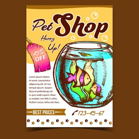 Pet Shop Aquarium On Advertising Poster Vector. Aquarium Fishbowl With Decorative Fish And Seaweed On Creative Banner. Animal Template Hand Drawn In Vintage Style Colored Illustration Archivio Fotografico - 142062436