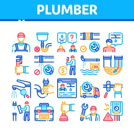 Plumber Profession Collection Icons Set Vector. Plumber Worker And Equipment, Faucet And Pipe Research, Instrument Case For Fixing Concept Linear Pictograms. Color Contour Illustrations Vecteurs
