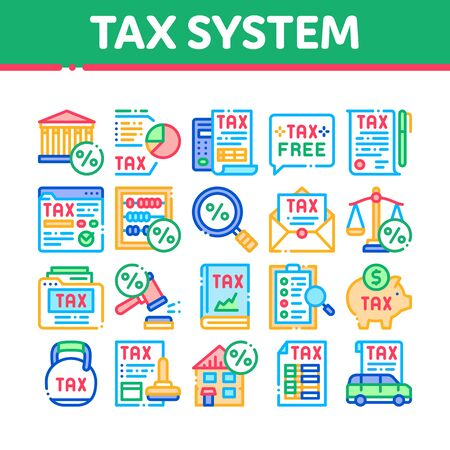 Tax System Finance Collection Icons Set Vector. Tax System Building And Car, Document And Mail Notice, Abacus And Scales Concept Linear Pictograms. Color Contour Illustrations
