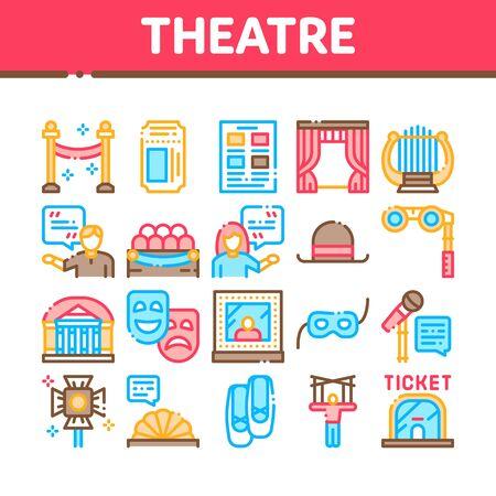 Ensemble d'icônes de collection d'équipement de théâtre vecteur. Billet de théâtre et jumelles, masque et microphone, rideau et sièges, pictogrammes linéaires de concept de bâtiment et de chapeau. Illustrations de contour de couleur