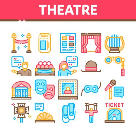 Theatre Equipment Collection Icons Set Vector. Theatre Ticket And Binoculars, Mask And Microphone, Curtain And Seats, Building And Hat Concept Linear Pictograms. Color Contour Illustrations