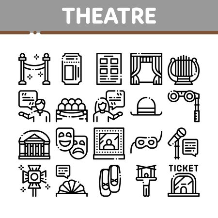 Theatre Equipment Collection Icons Set Vector. Theatre Ticket And Binoculars, Mask And Microphone, Curtain And Seats, Building And Hat Concept Linear Pictograms. Monochrome Contour Illustrations