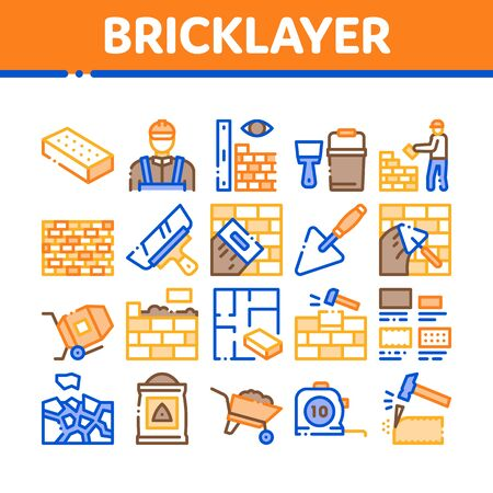 Bricklayer Industry Collection Icons Set Vector. Professional Bricklayer Worker, Mason Layer Equipment For Construct Brick Wall Concept Linear Pictograms. Color Contour Illustrations Ilustração