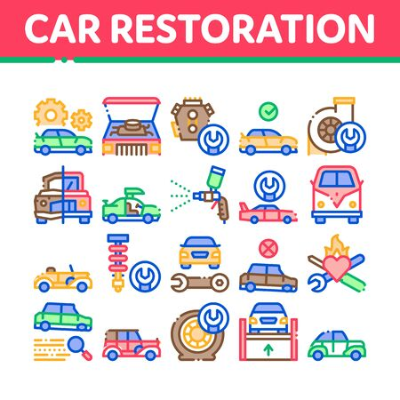 Car Restoration Repair Collection Icons Set Vector. Classic And Crashed Car Restoration, Painting Body And Fixing Engine, Wheel And Details Concept Linear Pictograms. Color Contour Illustrations