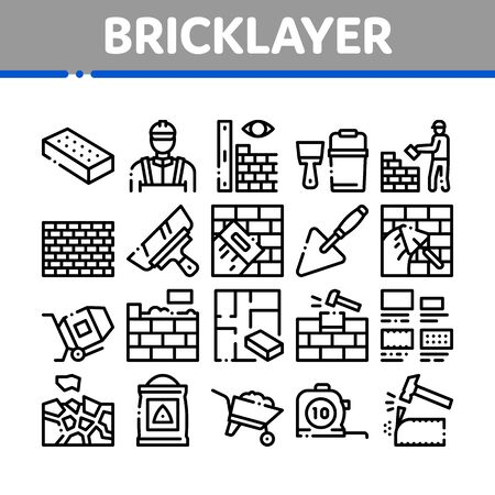 Bricklayer Industry Collection Icons Set Vector. Professional Bricklayer Worker, Mason Layer Equipment For Construct Brick Wall Concept Linear Pictograms. Monochrome Contour Illustrations