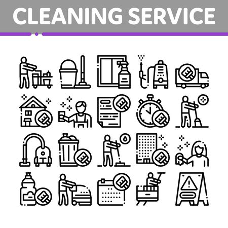 Cleaning Service Tool Collection Icons Set Vector. Liquid For Clean Window And Wash Floor, Vacuum Cleaner And Bucket Cleaning Service Concept Linear Pictograms. Monochrome Contour Illustrations  イラスト・ベクター素材