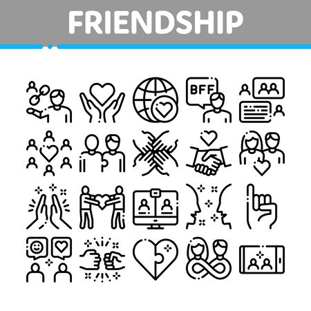 Friendship Relation Collection Icons Set Vector. Handshake And Friendship Gesture, Love And Partnership, Internet Communication Concept Linear Pictograms. Monochrome Contour Illustrations