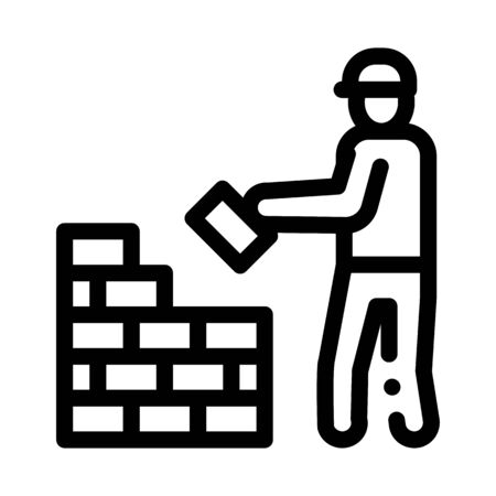 Worker Building Icon Vector. Outline Worker Building Sign. Isolated Contour Symbol Illustration Ilustração